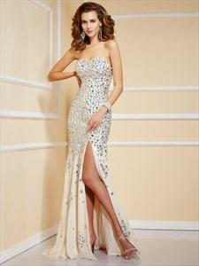 Strapless Sweetheart Jeweled Chiffon Long Prom Dress With Side Split