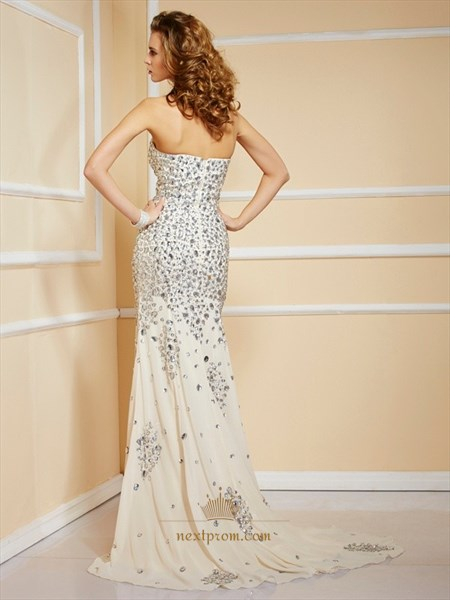 Strapless Sweetheart Jeweled Chiffon Long Prom Dress With Side Split