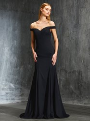 Black Elegant Off The Shoulder V-Neck Open Back Mermaid Evening Dress