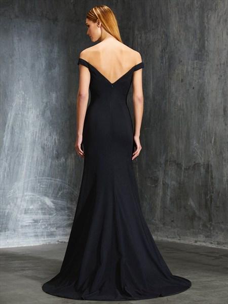 Black Elegant Off The Shoulder V-Neck Open Back Mermaid Evening Dress