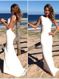 Simple Elegant Sleeveless Chiffon Long Evening Dress With Open Back