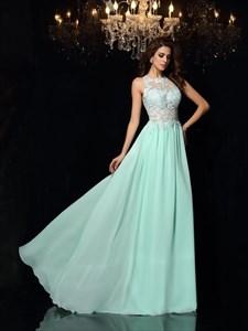 A-Line Floor Length Sleeveless Lace Chiffon Cut Out Waist Evening Gown