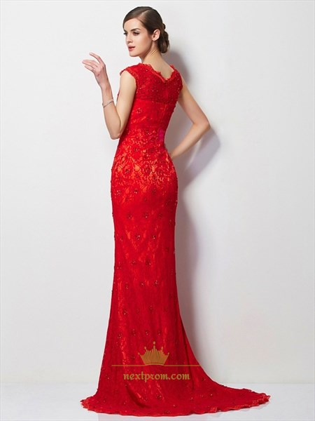 Red Cap Sleeve Lace Mermaid Floor Length Evening Dress With Beading