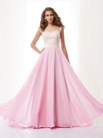 Light Pink Cap Sleeve Chiffon A Line Prom Dress With Sheer Neckline