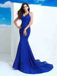 Royal Blue Sleeveless V-Neck Mermaid Evening Dress With Beaded Strap