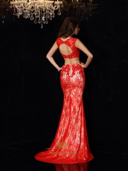 Red Lace Two-Piece Mermaid Cap Sleeve Long Prom Gown With Keyhole Back