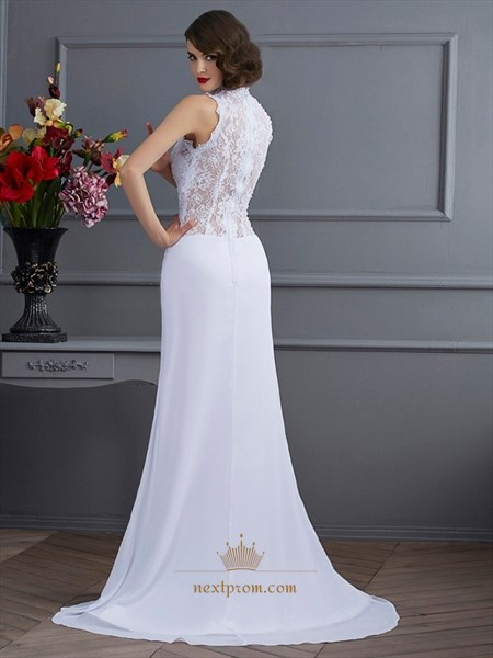 Sleeveless White Lace Bodice Chiffon Evening Dress With Front Split