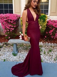 Burgundy Plunge V Neck Sleeveless Mermaid Cut Out Waist Formal Dress