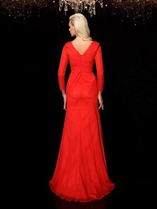 Simple Elegant Red Chiffon Floor Length Prom Dress With Long Sleeves