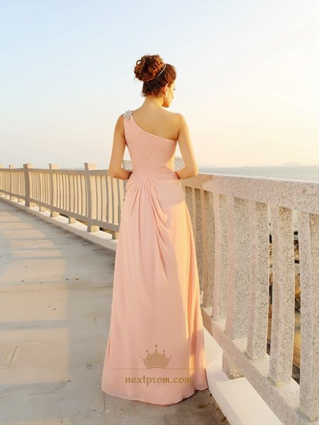 Blush Pink One Shoulder Floor Length Chiffon Dress With Beaded Strap