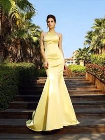 Yellow Elegant Sleeveless Mermaid Ruffle Formal Dress With Open Back