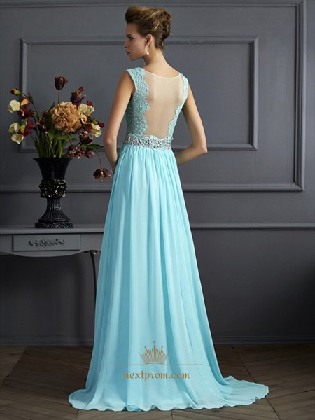 Sleeveless A Line Beaded Waist Lace Chiffon Prom Dress With Sheer Back