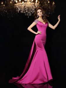 Fuchsia Open Back V Neck Mermaid Floor Length Prom Dress With Train