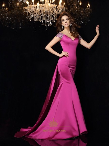 Fuchsia Open Back V Neck Mermaid Floor Length Prom Dress With Train