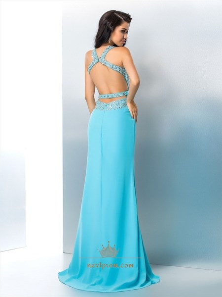 Aqua Blue Sleeveless Jeweled Bodice Chiffon Prom Dress With Open Back
