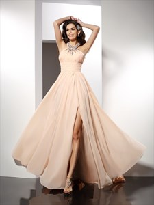 Sleeveless Floor Length Split Chiffon Prom Dress With Beaded Neckline