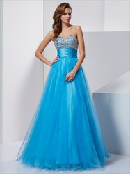 Aqua Blue Strapless Jeweled Bodice Empire Waist A-Line Tulle Prom Gown