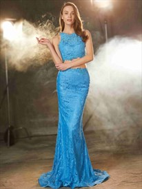 Blue Two Piece Sleeveless Mermaid V Back Floor Length Lace Prom Dress