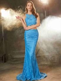 Blue Two Piece Sleeveless Mermaid V Back Floor Length Lace Prom Dress
