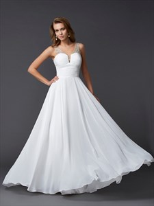 Backless Sleeveless White Chiffon A-Line Prom Dress With Beaded Strap