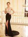 Black Sleeveless V Neck Open Back Chiffon Prom Dress With Side Split