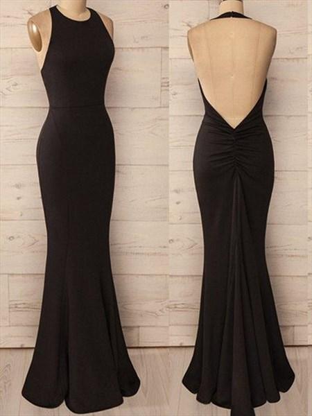 Simple Black Halter Floor Length Mermaid Evening Dress With Open Back