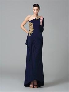 Navy Blue One Shoulder Long Sleeve Applique Chiffon Long Evening Dress