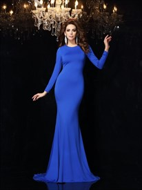Simple Royal Blue Long Sleeve Criss Cross Back Mermaid Long Prom Dress