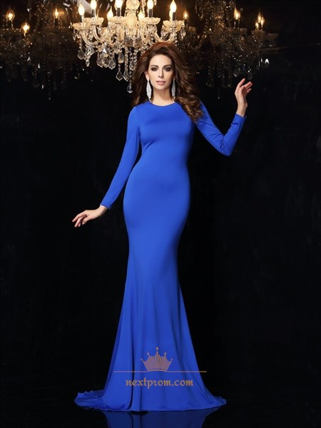 Simple Royal Blue Long Sleeve Criss Cross Back Mermaid Long Prom Dress