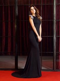 Black Floor Length Mermaid Open Back Evening Dress With Embellishment