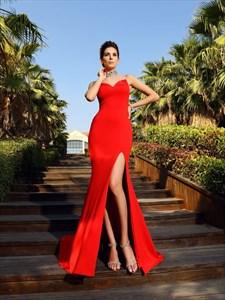 Sleeveless Red Sheer Neckline High-Neck Mermaid Prom Dress With Split