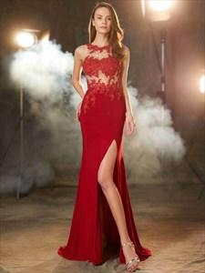 Burgundy Sleeveless Side Split Chiffon Prom Dress With Illusion Bodice