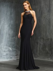 Black Sleeveless Beaded Embellished Mermaid Chiffon Long Prom Dress