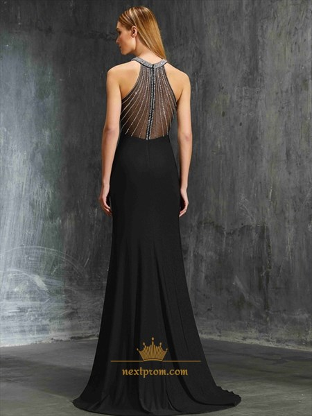 Black Sleeveless Beaded Embellished Mermaid Chiffon Long Prom Dress
