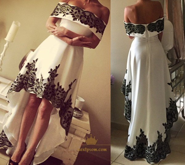 White Off The Shoulder High Low Prom Dress With Black Lace Embellished