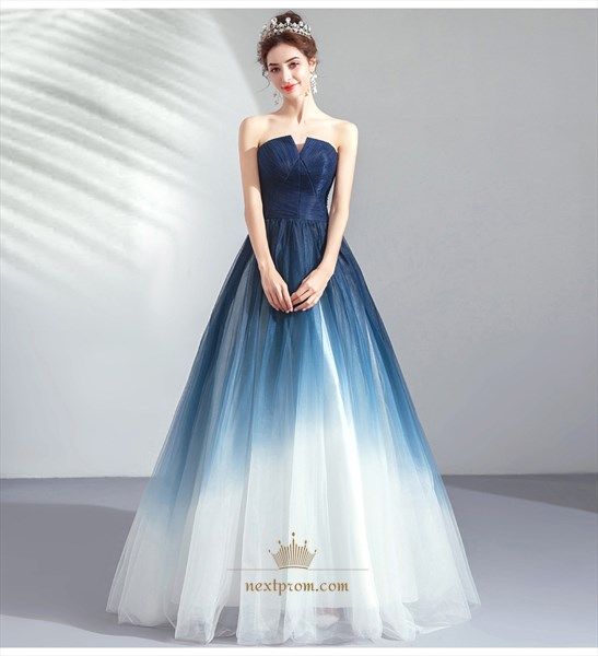 Ombre Indigo Blue Prom Wedding Ball Gown Dress
