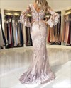 Lace Appliques Long Sleeves Tulle Mermaid Evening Dress