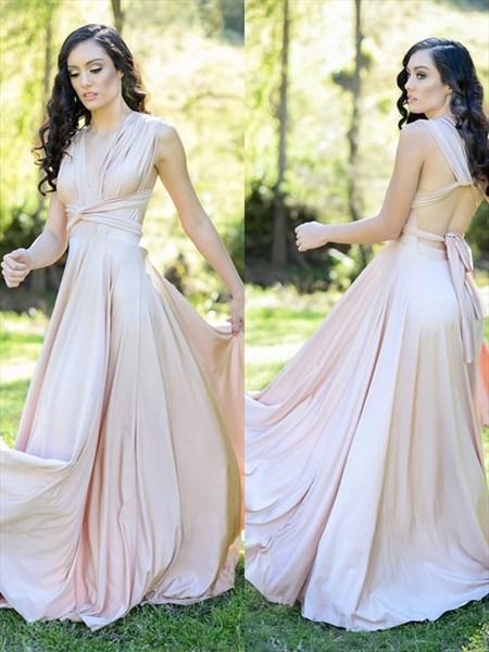 Pink Chiffon Pleated V-Neck Sleeveless Long Prom Dress With Open Back