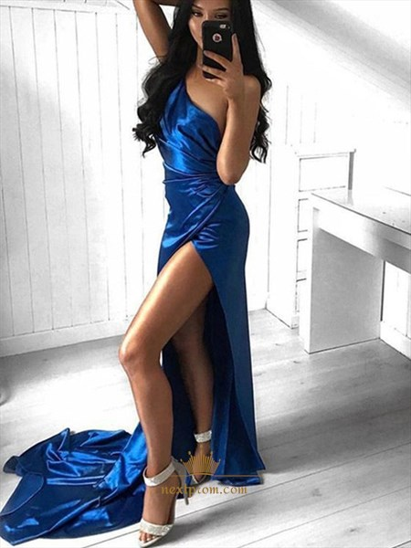 Royal Blue Ruched One Shoulder Split Front Long Prom Dress With Train