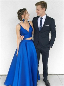 Royal Blue Two Piece V-Neck Spaghetti Strap Satin Prom Dresses
