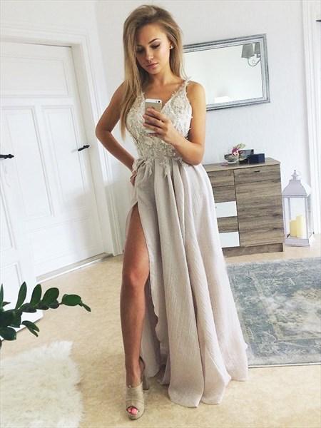 Grey V-Neck Spaghetti Strap Lace Applique Prom Dress With Split Front