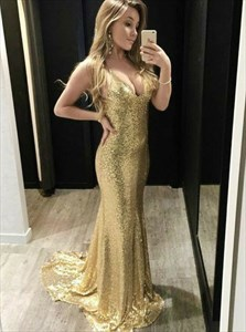 Gold Sequin Mermaid V-Neck Spaghetti Straps Backless Prom Dress