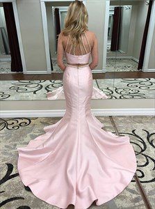 Pink Two Piece Mermaid Jewel Open Back Prom Dress With Beading