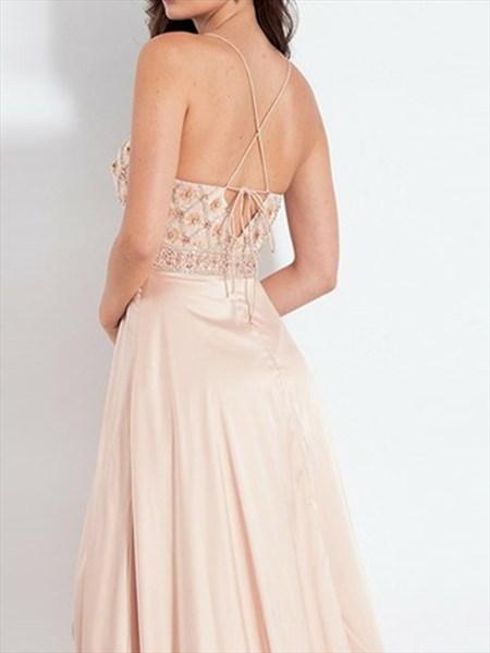 Peach V-Neck Beaded Bodice Spaghetti Straps Prom Dress With Split