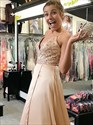 Peach V-Neck Beaded Bodice Spaghetti Straps Prom Dress With Split