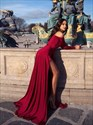 Burgundy A-Line Off-The-Shoulder Long Sleeves Prom Dress With Split