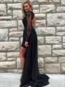 Black A-Line Illusion Lace-Bodice Long Chiffon Open-Back Prom Dress