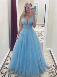 Light Blue A-Line Plunge V Neck Beaded Embellishment Tulle Prom Dress