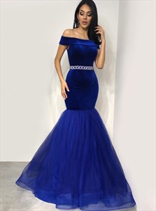 Royal Blue Mermaid Off-The-Shoulder Prom Dress With Beading