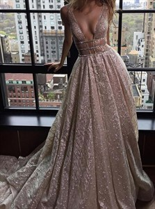 Champagne Sequin A-Line Deep V-Neck Sleeveless Backless Prom Dress